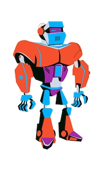 Artificial intelligence robot soldier, cartoon vector illustration isolated. development of robots