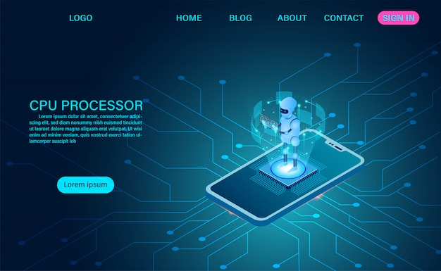 Artificial intelligence robot technology. big data processing, cpu processor isometric banner. isometric vector dark neon