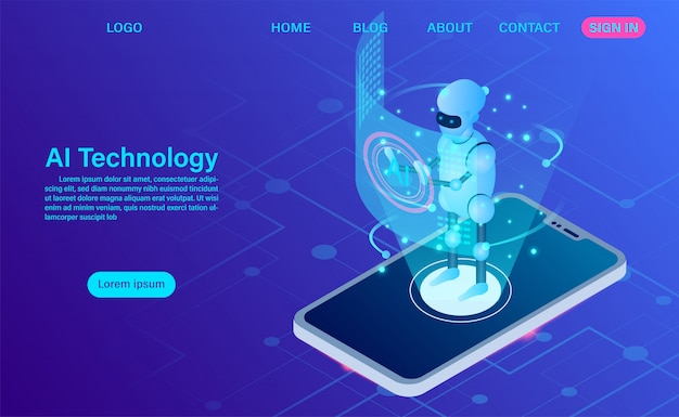Artificial intelligence robot technology in software mobile landing page