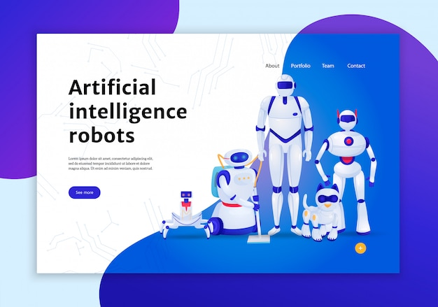 Artificial intelligence robots concept of web banner  illustration