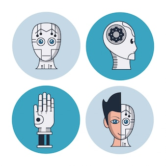 Artificial intelligence round icons