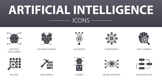 Artificial intelligence simple concept icons set. contains such icons as machine learning, algorithm, deep learning, neural network and more, can be used for web, logo, ui/ux