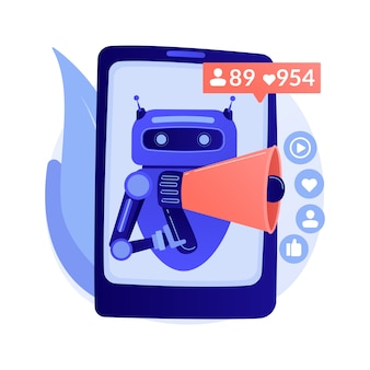 Artificial intelligence in social media abstract concept illustration