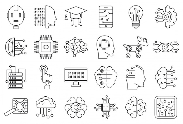 Artificial intelligence system icons set, outline style