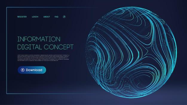 人工知能技術の背景暗い情報デジタルコンセプトの青い球シールド