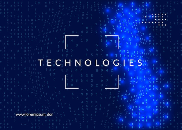 Artificial intelligence tech background. digital technology, deep learning and big data concept. abstract visual for server template. geometric artificial intelligence tech backdrop.