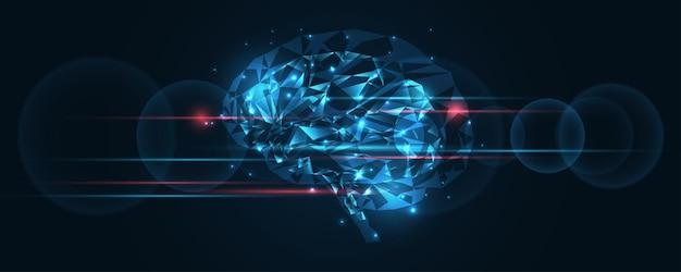 人工知能技術の背景脳の人間のグラフィックデジタルワイヤードットとラインベクトルイラストハイテクイノベーション抽象的な背景