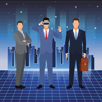 Artificial intelligence technology businessmen vr glasses suitcase