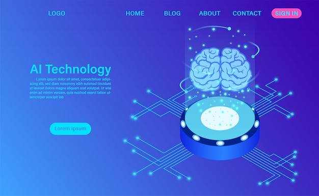 Artificial intelligence technology landing page template