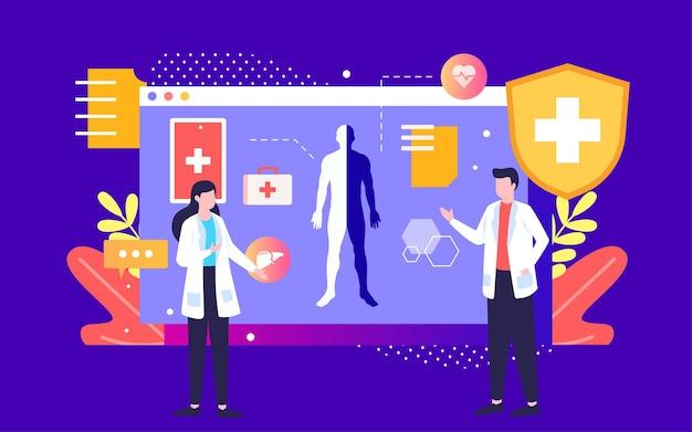 인공 지능 기술 의료 그림 온라인 진단 상담 의사 포스터