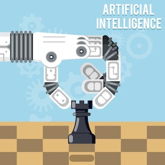 Artificial intelligence technology. robot hand plays chess, arm makes a move with rook