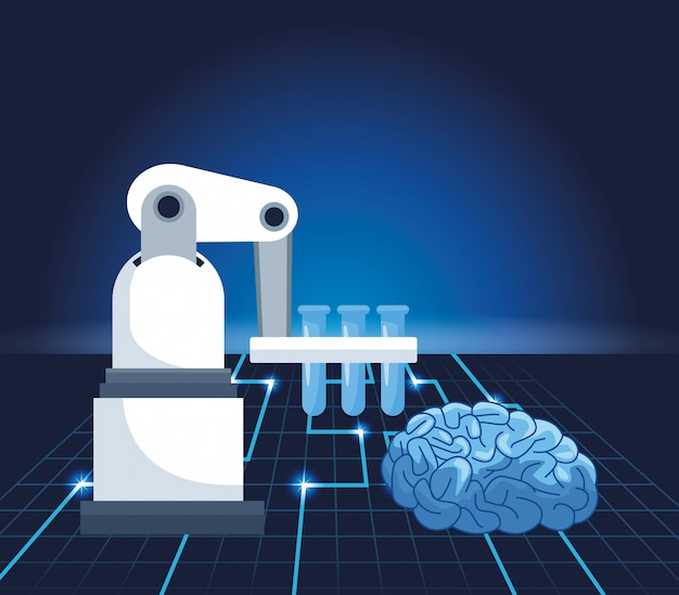 Artificial intelligence technology robotic arm lab flasks and human brain