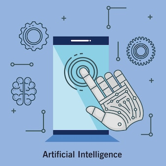 Artificial intelligence technology set icons
