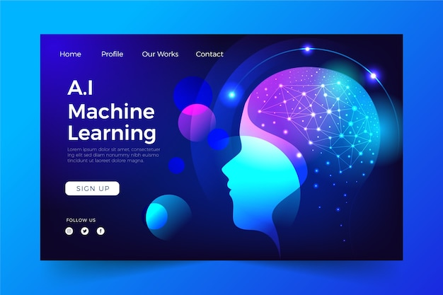 Artificial intelligence template landing page