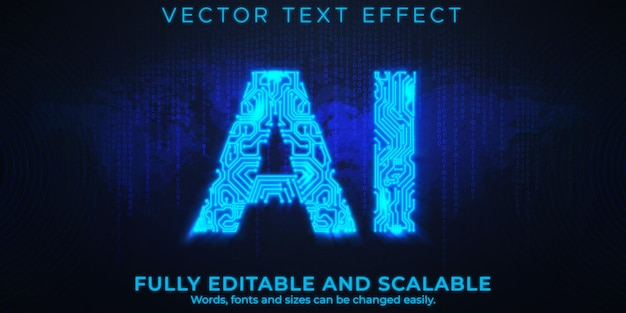 Artificial intelligence text effect editable technology and science text style