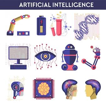 Искусственный интеллект векторные иллюстрации робота человеческого разума