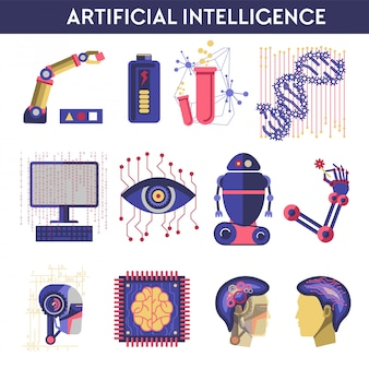 Artificial intelligence vector illustration of robot human mind