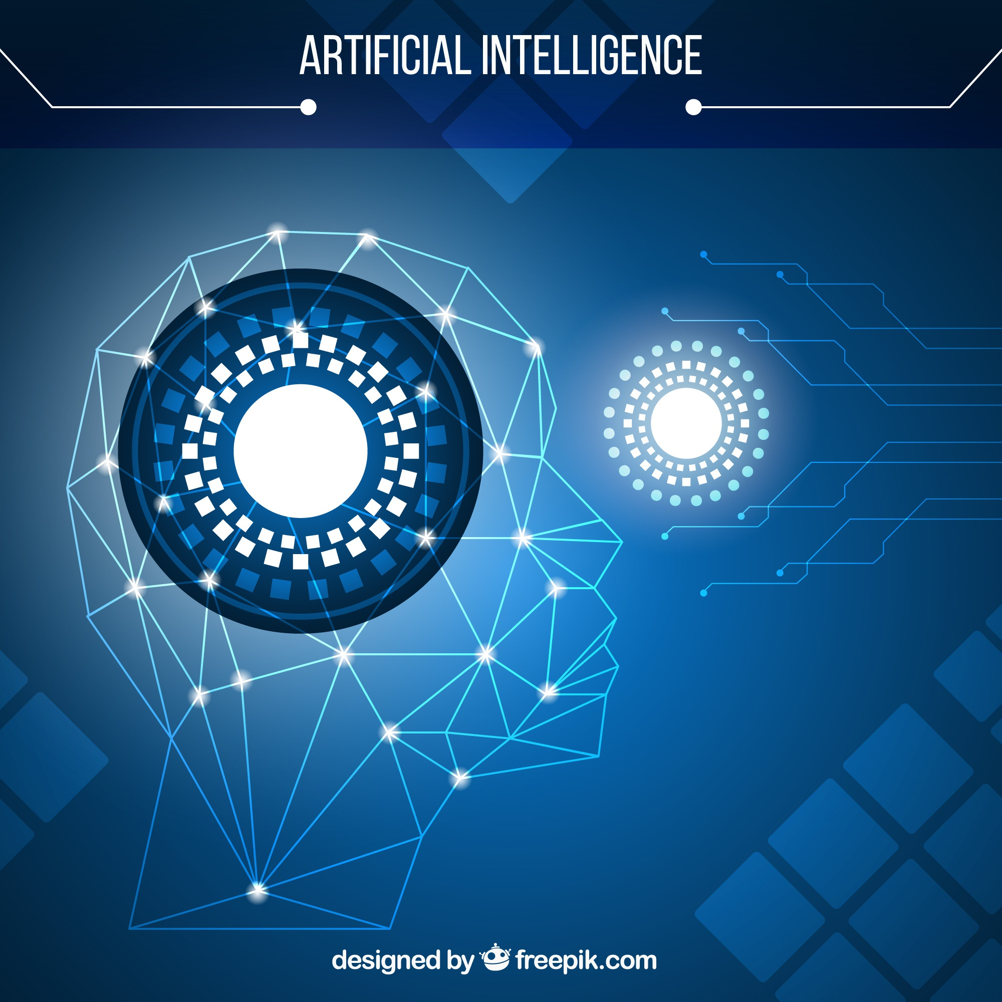 Artificial intelligence with blue background