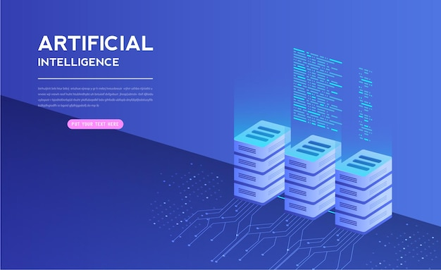 Artificial intelligence with digital is learning processing big data technology and engineering