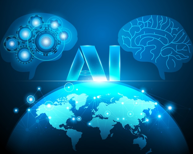 Artificial intelligence with world map and brain