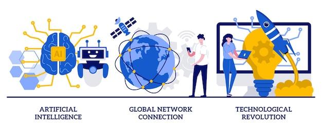Искусственный интеллект, подключение к глобальной сети, концепция технологической революции с крошечными людьми. набор векторных иллюстраций внедрения технических инноваций. метафора прогресса современных технологий.