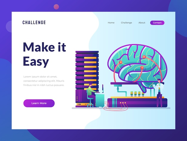 Artificial intelligent website flat illustration