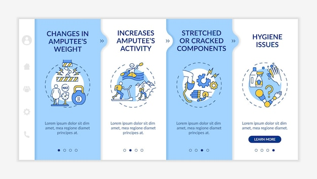 Artificial limb replace conditions onboarding vector template. responsive mobile website with icons. web page walkthrough 4 step screens. amputee activity color concept with linear illustrations