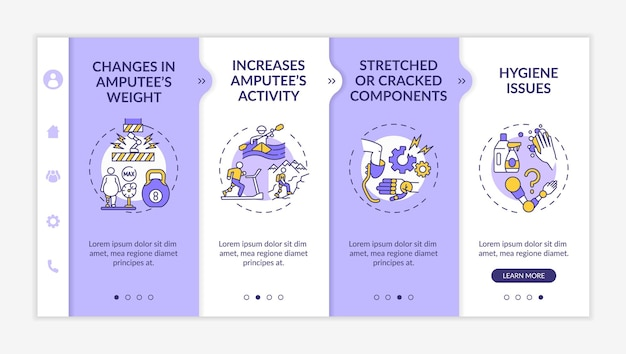 Artificial limb replace conditions onboarding vector template. responsive mobile website with icons. web page walkthrough 4 step screens. changes in weight color concept with linear illustrations
