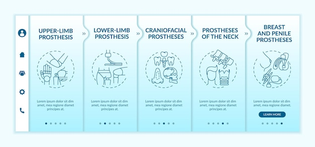 Artificial limb types onboarding vector template. responsive mobile website with icons. web page walkthrough 5 step screens. craniofacial, penile prostheses color concept with linear illustrations