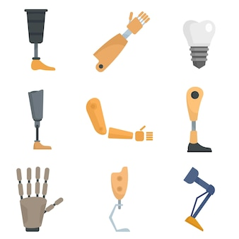 Artificial limbs icons set. flat set of artificial limbs vector icons isolated on white background