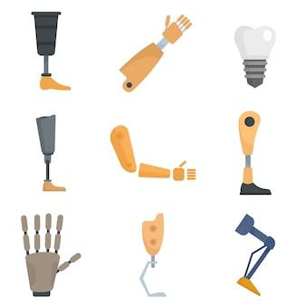 Набор иконок искусственных конечностей. плоский набор протезов векторных иконок, изолированные на белом фоне