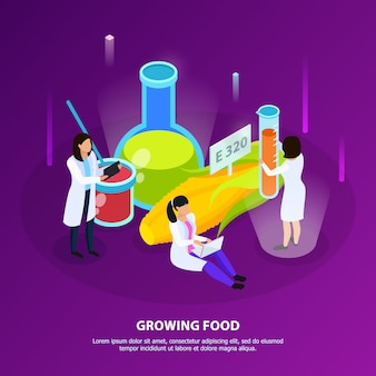 Artificial nutrition products isometric composition with scientists during growing of food on purple