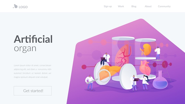 Artificial organ landing page template