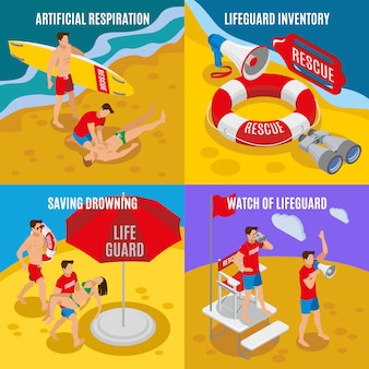 Artificial respiration lifeguard inventory saving drowning watch of lifeguard isometric compositions