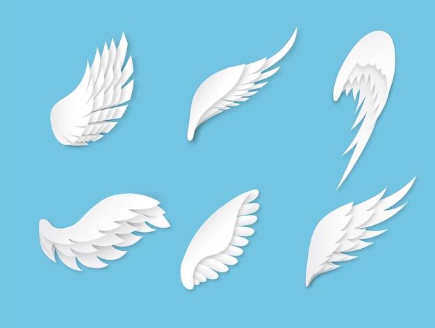 人工の白い異なる形の翼の装飾