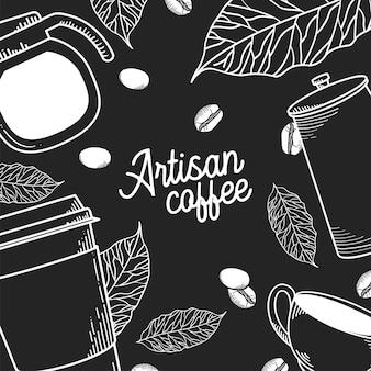 職人のコーヒーポットマグカップの葉と豆の背景のテーマ