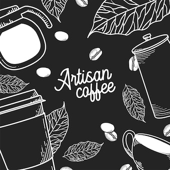 Artisan coffee pot mug cup leaves and beans background theme