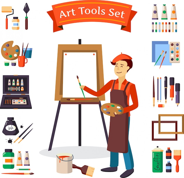 Artist and art tools set