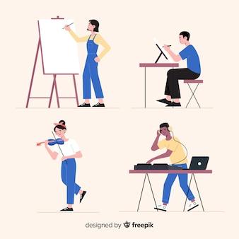 職場でのアーティストフラットデザイン