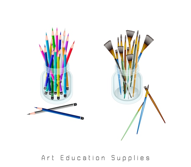 Artist brushes and colored pencils in a jar