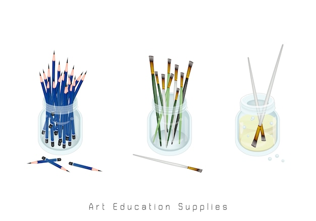 Artist brushes and sharpened pencils in jar