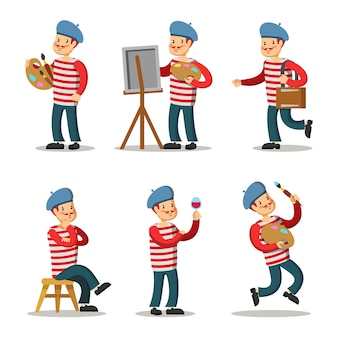 Artist cartoon character set. painter with palette.