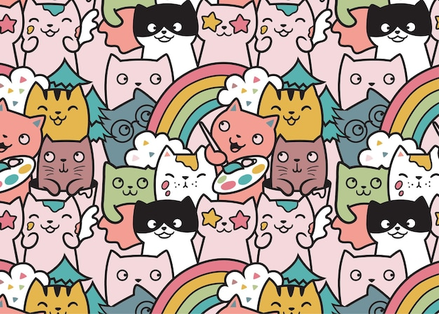 Artist cats pattern doodle background