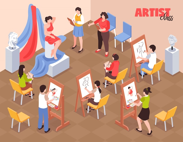 Artist class with students near easels with palettes and model in red clothing isometric vector illustration