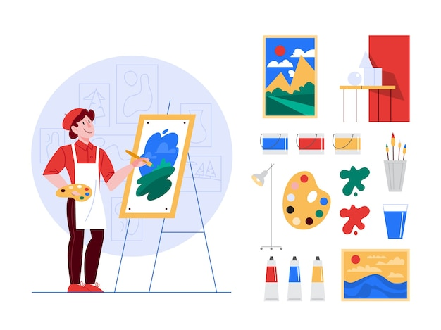 Artist concept illustration set. idea of creative people. male artist standing in front of big easel, holding a brush and paints. brushes, oil paints, artworks set