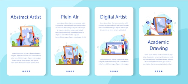 Artist concept  mobile application banner set. idea of creative people and profession. plein air, digital art, academic and abstract drawing.