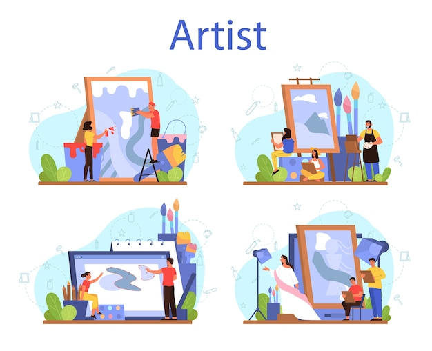 Artist concept  set. idea of creative people and profession. male and female artist standing in front of big easel or screen, holding a brush and paints.