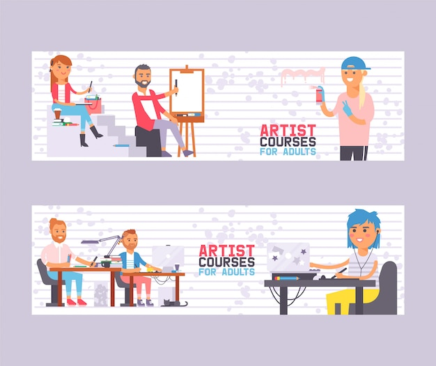 Artist courses for adults set of banners vector illustration. class with students painters. people learning to draw. art studio group of artists.