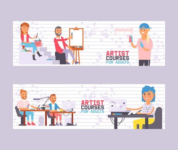 성인을위한 아티스트 코스 배너 벡터 일러스트 레이 션의 설정. 학생들과 함께 수업합니다. 그림을 배우는 사람들. 예술가의 예술 스튜디오 그룹.