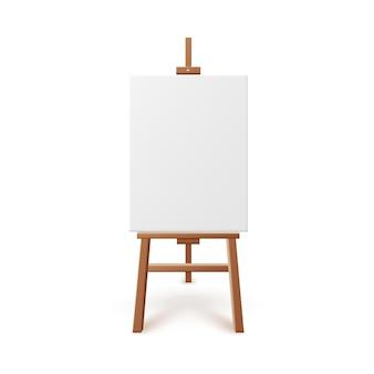 Мольберт художника с пустым белым холстом реалистичные иллюстрации изолированы